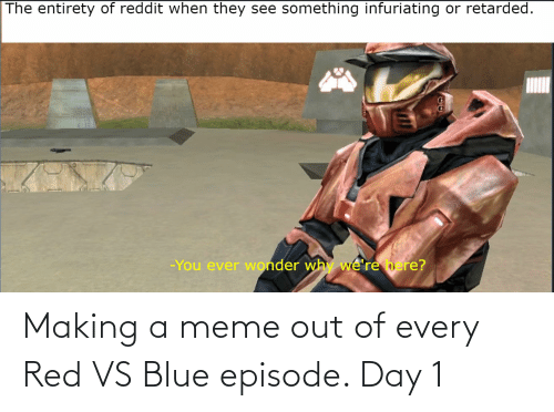 Red vs. Blue: The entirety of reddit when they  something infuriating  or retarded.  see  -You ever wonder why we're here? Making a meme out of every Red VS Blue episode. Day 1