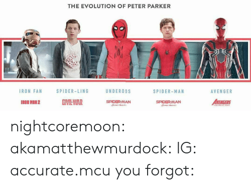 underoos: THE EVOLUTION OF PETER PARKER  IRON FAN  SPIDER-LING  UNDEROOS  SPIDER-MAN  AVENGER  IRON MRN2  SPIDERMAN  AVENGERS  SPIDERMAN nightcoremoon:  akamatthewmurdock:  IG: accurate.mcu  you forgot: