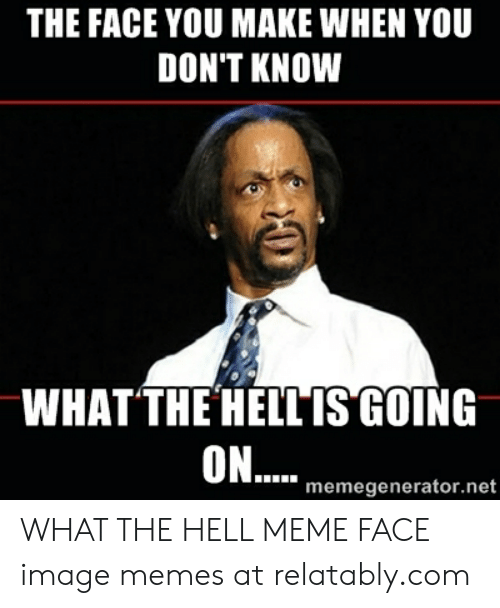What The Hell Meme: THE FACE YOU MAKE WHEN YOU  DON'T KNOW  WHATTHE HEILIS GOING  OIN....  memegenerator.net WHAT THE HELL MEME FACE image memes at relatably.com