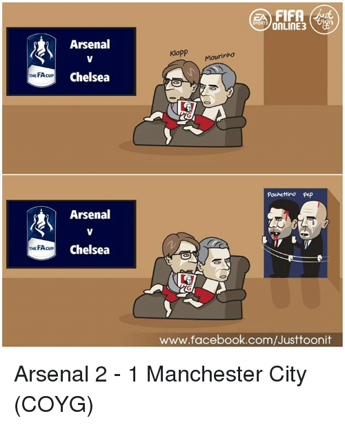 Arsenal, Chelsea, and Facebook: THE FAcupo THE FA cup  Arsenal  Chelsea  Arsenal  Chelsea  FIFA  SPORTS  Klopp  Mourinho  Pochettino Pep  www.facebook.com/Justtoonit Arsenal 2 - 1 Manchester City (COYG) ได้คู่ชิงเอฟเอคัพละจ้า สิงห์ เจอ ปืน