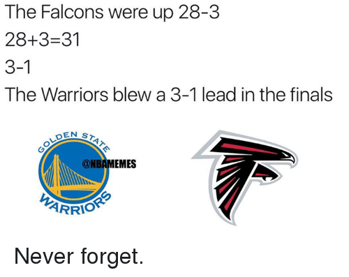 Warriors Blew A 3 1 Lead: The Falcons were up 28-3  28+3 31  3-1  The Warriors blew a 3-1 lead in the finals  OEN ST  @NBAMEMES  ARRIO Never forget.