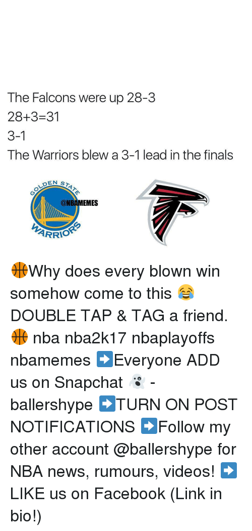 Warriors Blew A 3 1 Lead: The Falcons were up 28-3  28+3-31  3-1  The Warriors blew a 3-1 lead in the finals  DENS  @NBAMEMES  ARRIO 🏀Why does every blown win somehow come to this 😂 DOUBLE TAP & TAG a friend.🏀 nba nba2k17 nbaplayoffs nbamemes ➡Everyone ADD us on Snapchat 👻 - ballershype ➡TURN ON POST NOTIFICATIONS ➡Follow my other account @ballershype for NBA news, rumours, videos! ➡LIKE us on Facebook (Link in bio!)