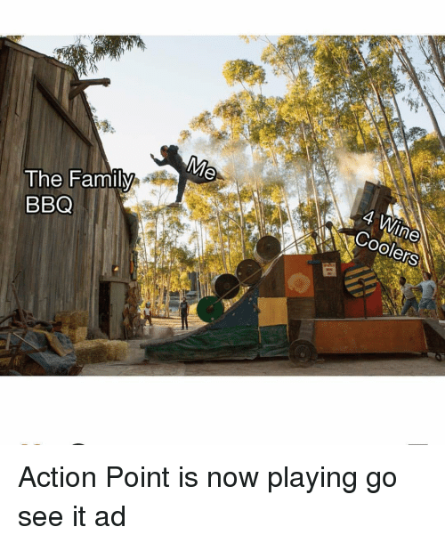 Family, Wine, and Dank Memes: The Family  BBQ  4 Wine  COolers Action Point is now playing go see it ad