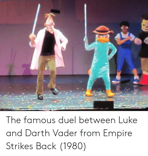 empire strikes back: The famous duel between Luke and Darth Vader from Empire Strikes Back (1980)