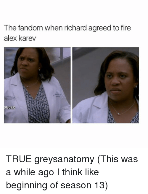 Fire, Memes, and True: The fandom when richard agreed to fire  alex karev  UCER TRUE greysanatomy (This was a while ago I think like beginning of season 13)