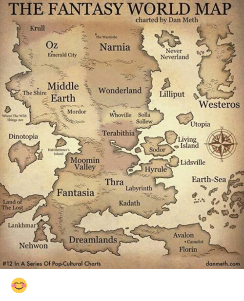 moomins: THE FANTASY WORLD MAP  charted by Dan Meth  Krull  The Weideobe  Oz  Narnia  Never  Emerald City  Neverland  Middle  Wonderland  Earth  Lilliput  Westeros  The Shire  Mordor  Whoville Solla  Where The  Sollew  Utopia  Terabithia  Dinotopia  Living  Sodor Island  Island  Moomin  Lidsville  a Hyrule  Earth Sea  Thra  Fantasia  Labyrinth  Land of  Kadath  The Lost  Lankhmar  Avalon  Dreamlands  Nehwon  Florin  donmeth.com  #12 In A Series Of Pop-Cultural Charts 😊