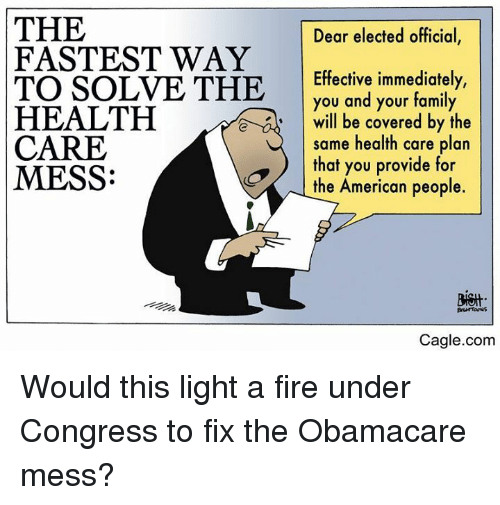 Family, Fire, and Memes: THE  FASTEST WAY  TO SOLVE THE  HEALTH  CARE  MESS:  Dear elected official,  Effective immediately,  you and your family  will be covered by the  same health care plan  that you provide for  the American people.  e  Cagle.com Would this light a fire under Congress to fix the Obamacare mess?
