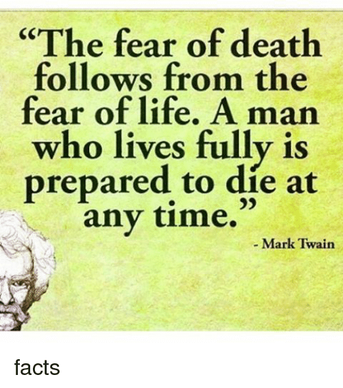 the fear of death Our fear isn't of 'a future that doesn't contain us' it is of being dead and not participating do i really need to point out that the future and the past are different.