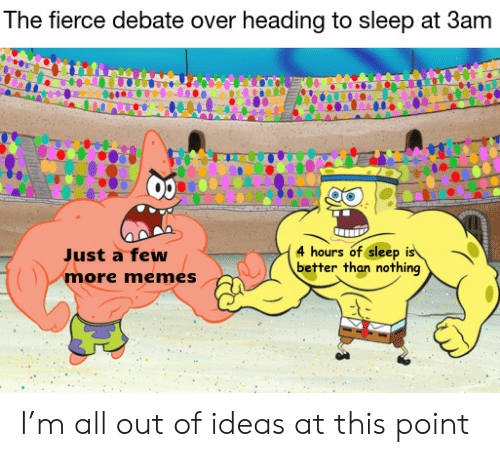 fierce: The fierce debate over heading to sleep at 3am  4 hours of sleep is  better than nothing  Just a few  more memes I'm all out of ideas at this point