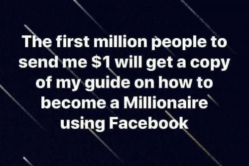 millionaire: The first million people to  send me $1 will get a copy  of my guide on how to  become a Millionaire  using Facebook