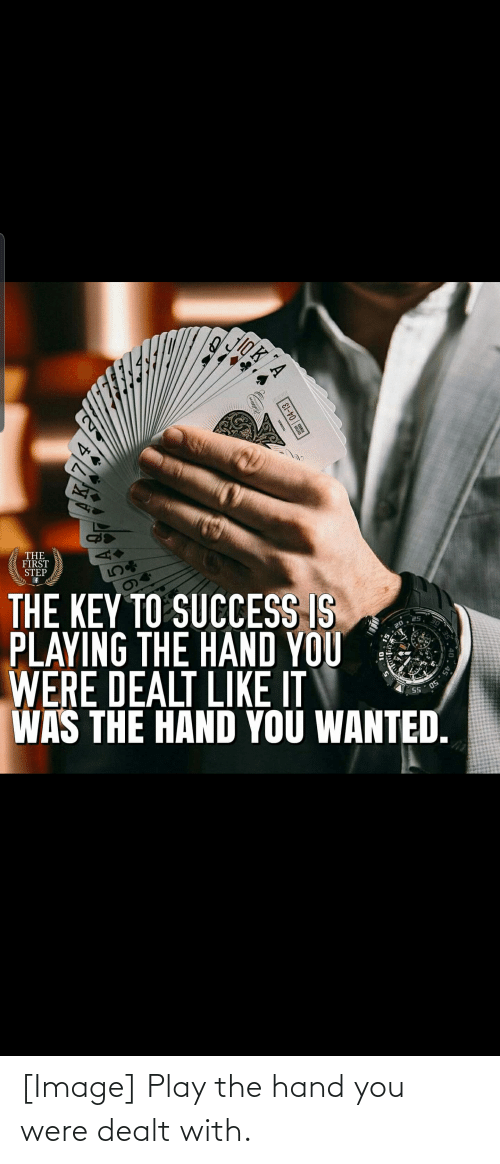 key to success: THE  FIRST  STEP  THE KEY TO SUCCESS IS  PLAYING THE HAND YOU  WERE DEALT LIKE Ii  WAS THE HAND YOU WANTED.  25  20  55  40  04-13  4. [Image] Play the hand you were dealt with.
