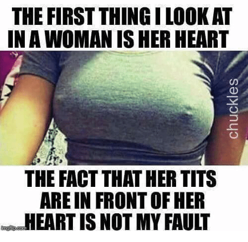 Memes, Tits, and Heart: THE FIRST THINGILOOK AT  INA WOMANIS HER HEART  THE FACT THATHER TITS  ARE IN FRONTOF HER