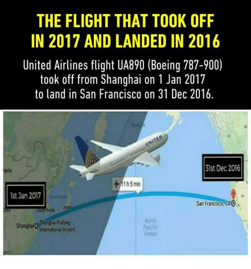 united airline: THE FLIGHT THAT TOOK OFF  IN 2017 AND LANDED IN 2016  United Airlines flight UA890 (Boeing 787-900)  took off from Shanghai on 1 Jan 2017  to land in San Francisco on 31 Dec 2016.  31st Dec 2016  1 5 min  lst Jan 2017  San Francisco, CAOa  North  Pacilic  Intemational Airport  Ocean