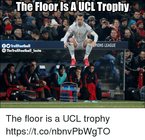 Memes, 🤖, and League: The Floor Is AUCL Trophy  fTrollFootball  PIONS LEAGUE  TheTrollFootballInsta  - The floor is a UCL trophy https://t.co/nbnvPbWgTO