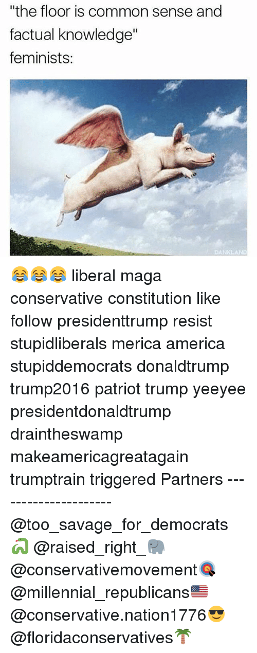 """America, Memes, and Savage: """"the floor is common sense and  factual knowledge""""  feminists:  DANKLAND 😂😂😂 liberal maga conservative constitution like follow presidenttrump resist stupidliberals merica america stupiddemocrats donaldtrump trump2016 patriot trump yeeyee presidentdonaldtrump draintheswamp makeamericagreatagain trumptrain triggered Partners --------------------- @too_savage_for_democrats🐍 @raised_right_🐘 @conservativemovement🎯 @millennial_republicans🇺🇸 @conservative.nation1776😎 @floridaconservatives🌴"""
