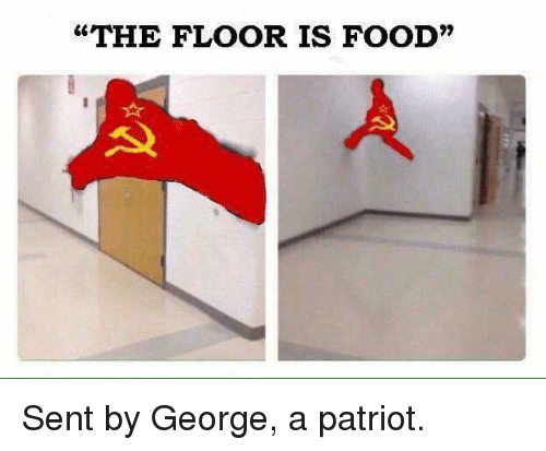 "Food, Memes, and 🤖: ""THE FLOOR IS FOOD"" Sent by George, a patriot."