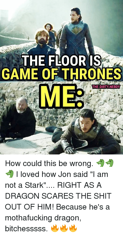 """Starked: THE FLOOR IS  GAME OF THRONES  THE DIRTY,NERDY  ME How could this be wrong. 🐲🐲🐲 I loved how Jon said """"I am not a Stark"""".... RIGHT AS A DRAGON SCARES THE SHIT OUT OF HIM! Because he's a mothafucking dragon, bitchesssss. 🔥🔥🔥"""