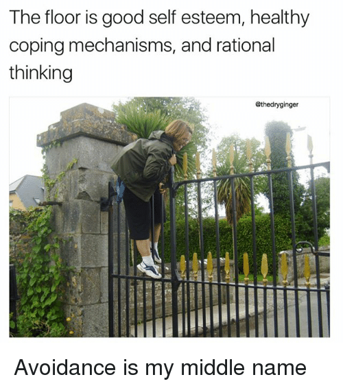 rationale: The floor is good self esteem, healthy  coping mechanisms, and rational  thinking  @thedryginger Avoidance is my middle name