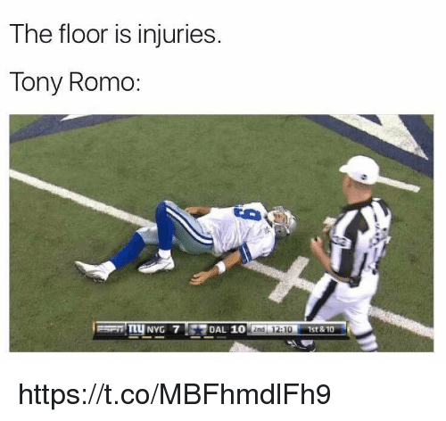 Tony Romo: The floor is injuries.  Tony Romo  NYG 7  Ena 12:10  1st&10 https://t.co/MBFhmdlFh9