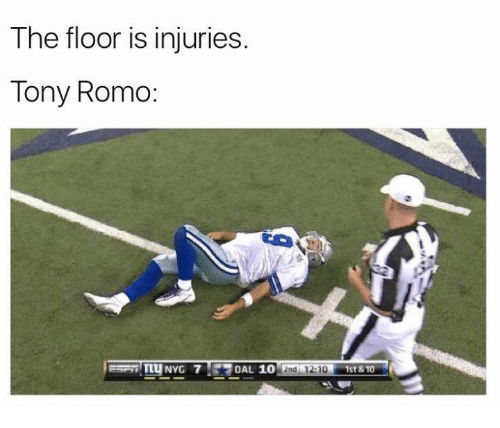 Tony Romo: The floor is injuries.  Tony Romo:  TTUNYG 7 DAL 10  2nd 12:10  1st & 10