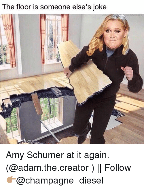 Amy Schumer, Memes, and Champagne: The floor is someone else's joke Amy Schumer at it again. (@adam.the.creator ) || Follow 👉🏽@champagne_diesel