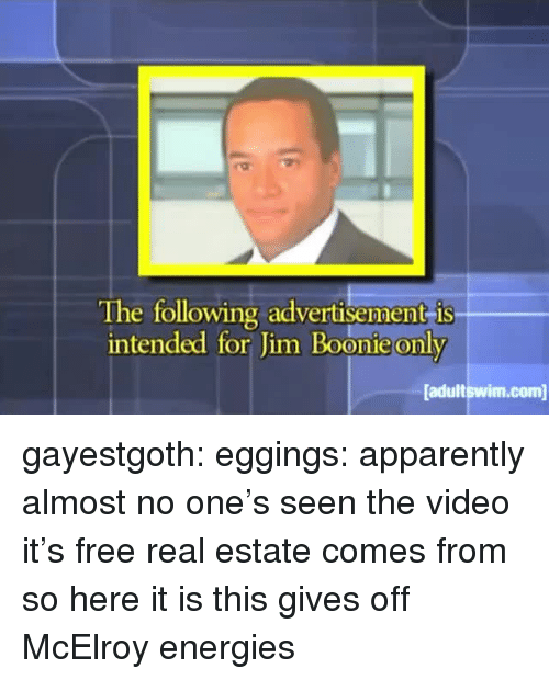 Free Real Estate: The following advertisement is  intended for Jim Boonie only  adultswim.com gayestgoth:  eggings: apparently almost no one's seen the video it's free real estate comes from so here it is  this gives off McElroy energies