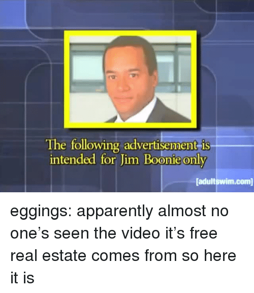 Free Real Estate: The following advertisement is  intended for Jim Boonie only  adultswim.com eggings: apparently almost no one's seen the video it's free real estate comes from so here it is