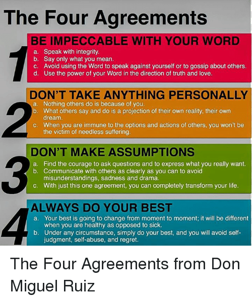 The four agreements be impeccable with your word a speak with life love and memes the four agreements be impeccable with your word a platinumwayz