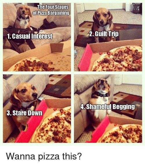 pizza: The Four Stages  of Pizza Bargaining  1. Casual Interest  2. Guilt Trip  .Shameful Begging  3. Stare Down Wanna pizza this?