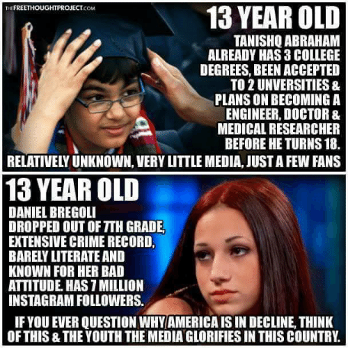 Bad, College, and Crime: THE  FREETHOUGHTPROJECT  13 YEAR OLD  COM  TANISHQ ABRAHAM  ALREADY HAS 3 COLLEGE  DEGREES, BEEN ACCEPTED  TO 2 UNVERSITIES 8.  PLANSONBECOMING A  ENGINEER, DOCTOR &  MEDICAL RESEARCHER  BEFORE HE TURNS 18.  RELATIVELYUNKNOWN, VERYLITTLE MEDIA, JUSTA FEW FANS  13 YEAR OLD  DANIEL BREGOLI  DROPPED OUT OFTTH GRADE.  EXTENSIVE CRIME RECORD,  BARELY LITERATE AND  KNOWN FOR HER BAD  ATTITUDE HAS 1MILLION  INSTAGRAMFOLLOWERS.  IF YOU EVER QUESTION WHY AMERICAISIN DECLINE, THINK  OF THIS THE YOUTH THEMEDIA GLORIFIES IN THISCOUNTRY