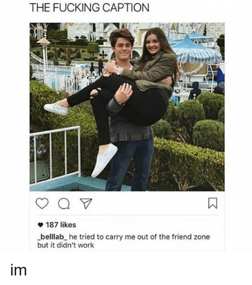 Memes, Captioned, and 🤖: THE FUCKING CAPTION  187 likes  -belllab he tried to carry me out of the friend zone  but it didn't work im