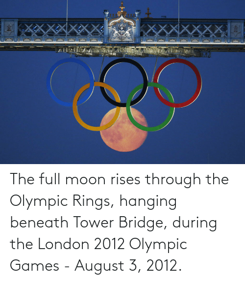 london 2012:  The full moon rises through the Olympic Rings, hanging beneath Tower Bridge, during the London 2012 Olympic Games - August 3, 2012.