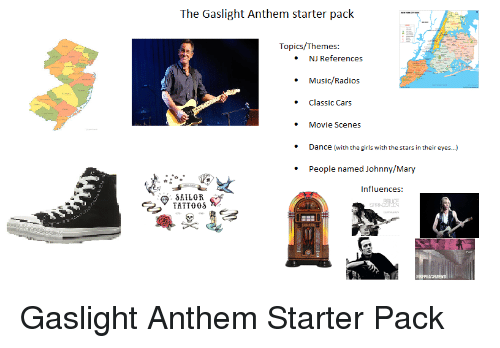 Cars Girls And Music The Gaslight Anthem Starter Pack Topics Themes