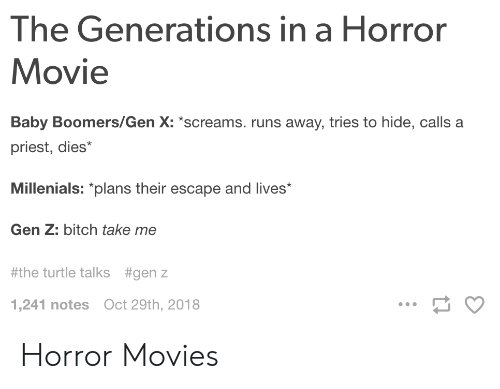 Runs Away: The Generations in a Horror  Movie  Baby Boomers/Gen X: screams. runs away, tries to hide, calls a  priest, dies*  Millenials: plans their escape and lives  Gen Z: bitch take me  #the turtle talks  #genz  1,241 notes Oct 29th, 2018 Horror Movies