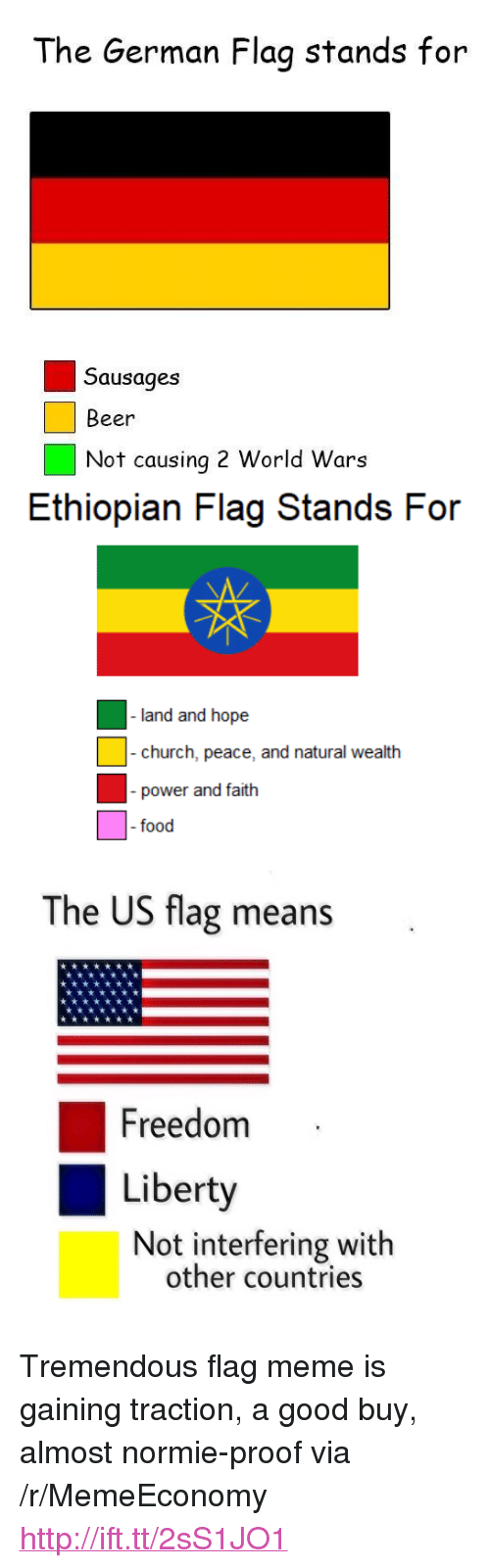 "Ethiopian: The German Flag stands for  Sausages  Beer  Not causing 2 World Wars  Ethiopian Flag Stands For  church, peace, ad natural wealth  - power and faith  food  The US flag means  Freedom  Liberty  Not interfering with  other countries <p>Tremendous flag meme is gaining traction, a good buy, almost normie-proof via /r/MemeEconomy <a href=""http://ift.tt/2sS1JO1"">http://ift.tt/2sS1JO1</a></p>"