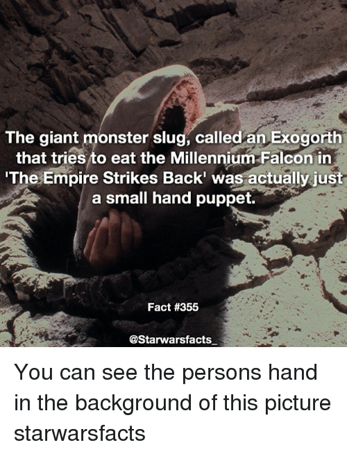 falcone: The giant monster slug, called an Exogorth  that tries to eat the Millennium Falcon in  The Empire Strikes Back' was actually just  a small hand puppet.  Fact #355  @Starwarsfacts You can see the persons hand in the background of this picture starwarsfacts