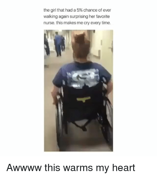 Memes, Girl, and Heart: the girl that had a 5% chance of ever  walking again surprising her favorite  nurse. this makes me cry every time. Awwww this warms my heart