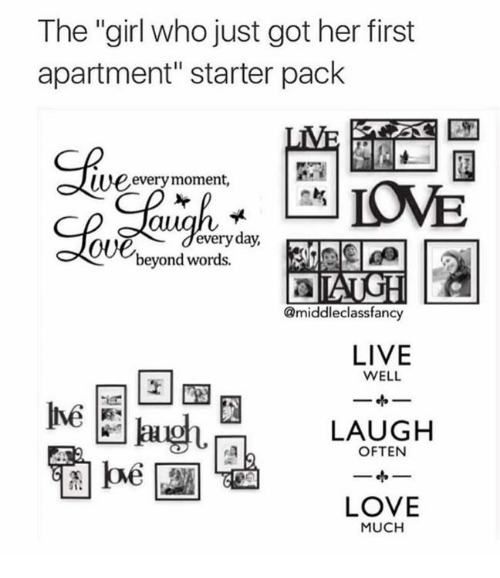 "Dank, Love, and Girl: The ""girl who just got her first  apartment"" starter pack  SB  we  every moment,  oUedeveryday,  beyond words.  @middleclassfancy  LIVE  WELL  Inve  LAUGH  LOVE  MUCH"
