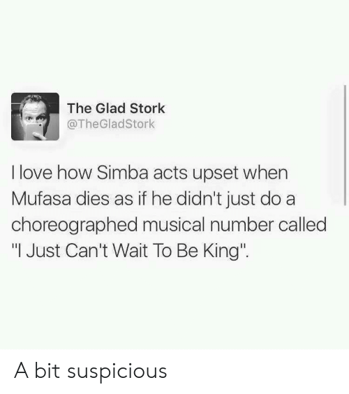 """Mufasa: The Glad Stork  @TheGladStork  I love how Simba acts upset when  Mufasa dies as if he didn't just do a  choreographed musical number called  """"I Just Can't Wait To Be King' A bit suspicious"""