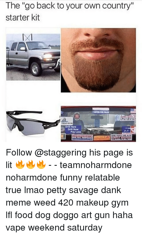 "Gym, Makeup, and Memes: The ""go back to your own country""  starter kit  TREAD ON NL  Drill Here  Drill Now  Pay Less Follow @staggering his page is lit 🔥🔥🔥 - - teamnoharmdone noharmdone funny relatable true lmao petty savage dank meme weed 420 makeup gym lfl food dog doggo art gun haha vape weekend saturday"