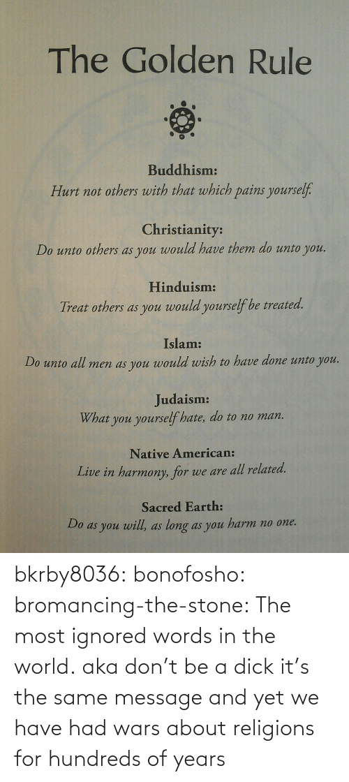 Native American, Tumblr, and American: The Golden Rule  Buddhism:  Hurt not others with that which pains yourself.  Christianity:  Do unto others as you would have them do unto you.  Hinduism:  Treat others as you would yourself be treated.  Islam:  Do unto all men as you would wish to have done unto you.  Judaism:  What you yourself hate, do to no man.  Native American:  Live in harmony, for we are all related.  Sacred Earth:  Do as you will, as long as you harm no one. bkrby8036:  bonofosho:  bromancing-the-stone:  The most ignored words in the world.  aka don't be a dick  it's the same message and yet we have had wars about religions for hundreds of years