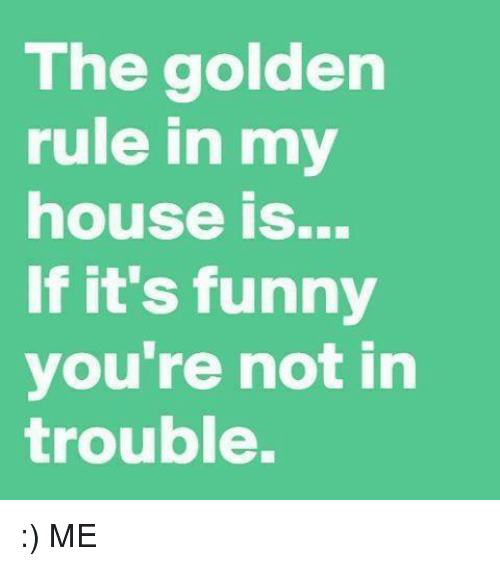 The Golden Rule: The golden  rule in my  house is...  If it's funny  you're not in  trouble. :) ME