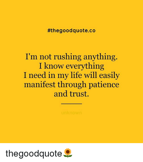 Life, Memes, and Good:  #the good quote.co  I'm not rushing anything  I know everything  I need in my life will easily  manifest through patience  and trust.  unknown thegoodquote🌻
