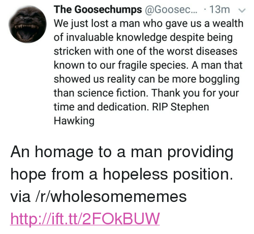 """homage: The  Goosechumps @Goosec...  We just lost a man who gave us a wealth  of invaluable knowledge despite being  stricken with one of the worst diseases  known to our fragile species. A man that  showed us reality can be more boggling  than science fiction. Thank you for your  time and dedication. RIP Stephen  Hawking <p>An homage to a man providing hope from a hopeless position. via /r/wholesomememes <a href=""""http://ift.tt/2FOkBUW"""">http://ift.tt/2FOkBUW</a></p>"""
