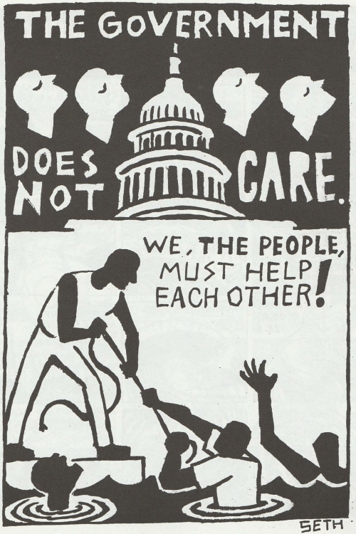 seth: THE GoVERNMENT  DOES  NoT  후 CARE  WE,THE PEOPLE,  MUST HELP  EACH OTHER  SETH