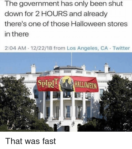 Funny, Halloween, and Twitter: The government has only been shut  down for 2 HOURS and already  there's one of those Halloween stores  in there  2:04 AM 12/22/18 from Los Angeles, CA Twitter  SPIRHALLOWEEN That was fast