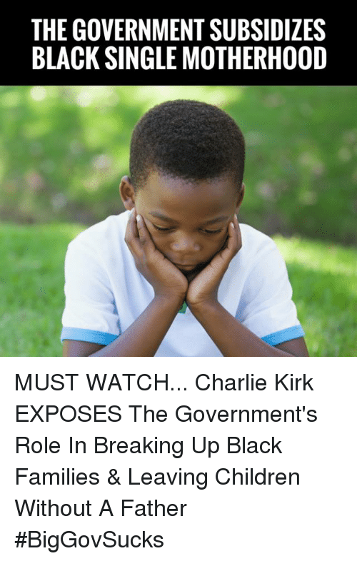 Charlie, Children, and Memes: THE GOVERNMENT SUBSIDIZES  BLACK SINGLE MOTHERHOOD MUST WATCH... Charlie Kirk EXPOSES The Government's Role In Breaking Up Black Families & Leaving Children Without A Father #BigGovSucks
