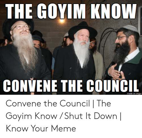 Goyim Know: THE GOYIM KNOW  CONVENE THE COUNCIL  made on imqur Convene the Council | The Goyim Know / Shut It Down | Know Your Meme