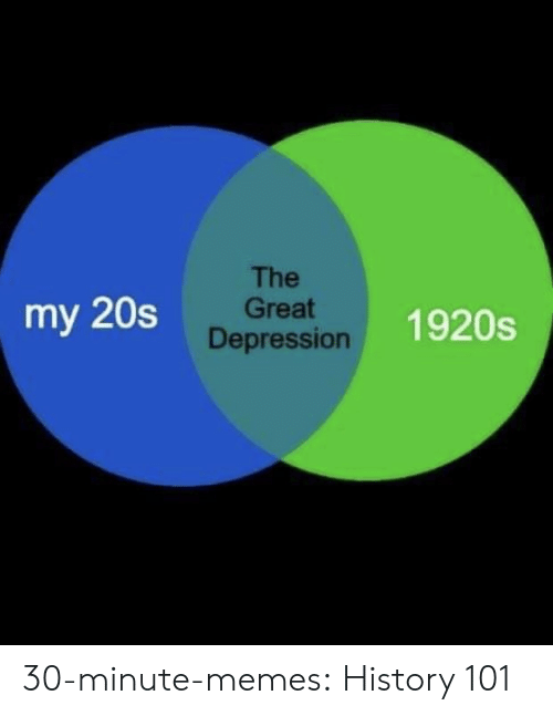 Great Depression: The  Great  Depression  my 20s  1920s 30-minute-memes:  History 101
