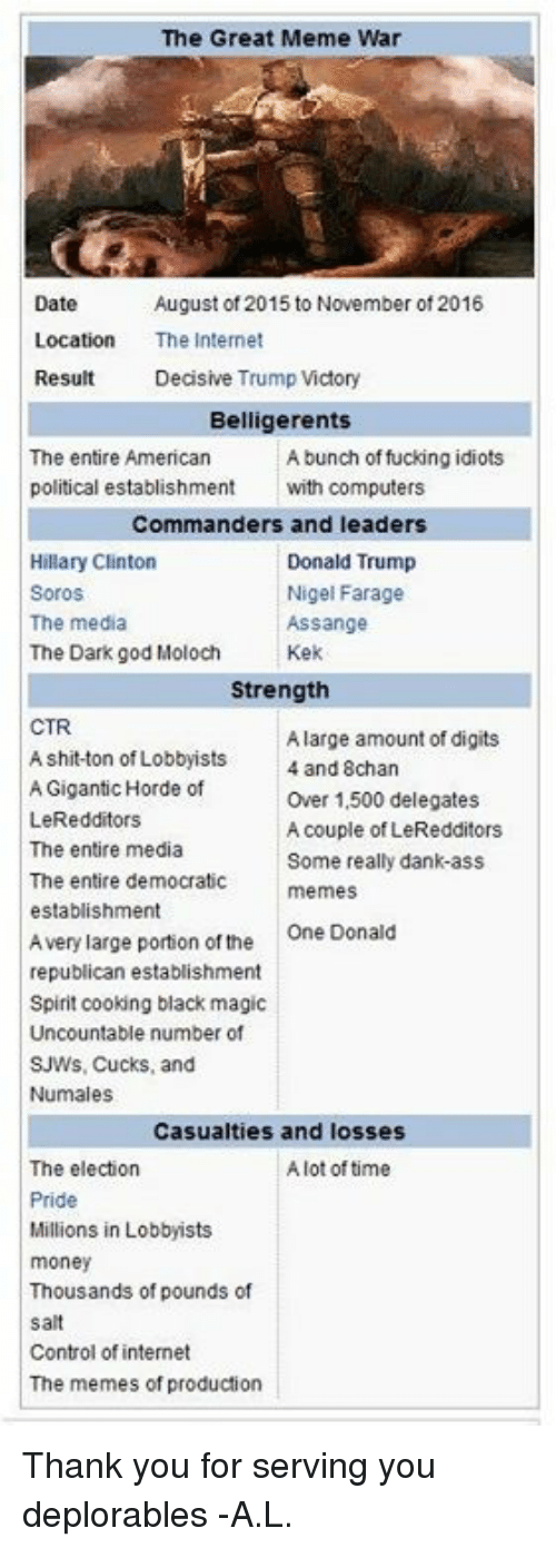 Democrat Memes: The Great Meme War  Date  August of 2015 to November of 2016  Location  The Internet  Result  Decisive Trump Victory  Belligerents  The entire American  A bunch of fucking idiots  political establishment  with computers  Commanders and leaders  Hillary Clinton  Donald Trump  Soros  Nigel Farage  The media  Assange  The Dark god Moloch  Kek  Strength  CTR  A large amount of digits  A shit-ton of Lobbyists  and Schan  Gigantic Horde of  Over 1,500 delegates  LeRedditors  A couple of LeRedditors  The entire media  Some really dank-ass  The entire democratic  memes  establishment  Avery large portion of the  One Donald  republican establishment  Spirit cooking black magic  Uncountable number of  SJWs, Cucks, and  Numales  Casualties and losses  The election  A lot of time  Pride  Millions in Lobbyists  money  Thousands of pounds of  salt  Control of internet  The memes of production Thank you for serving you deplorables -A.L.